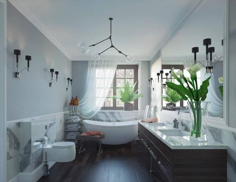 Каким может быть дизайн ванной комнаты, если в ней есть окно