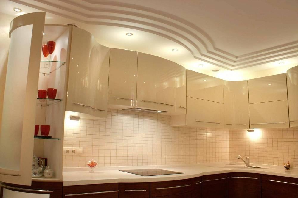 Потолки из гипсокартона на кухне: 50 фото, варианты дизайна.