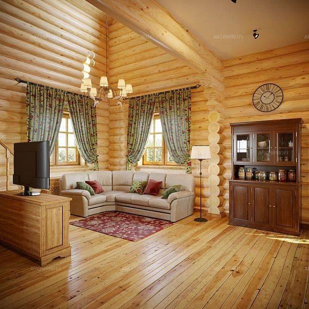 Интерьер гостиной в деревянном доме: дизайн и отделка гостиной из дерева (40 фото)