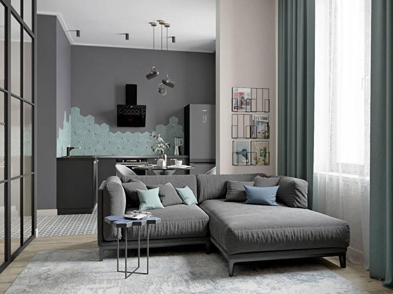 Современный дизайн однокомнатной квартиры площадью 40 кв. м