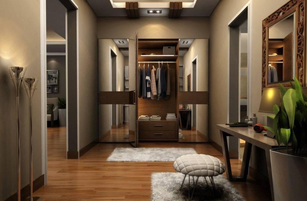Дизайн с большими зеркалами в прихожей