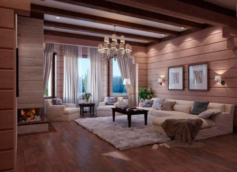 Гостиная в деревянном доме - 88 фото лучших современных идей интерьера