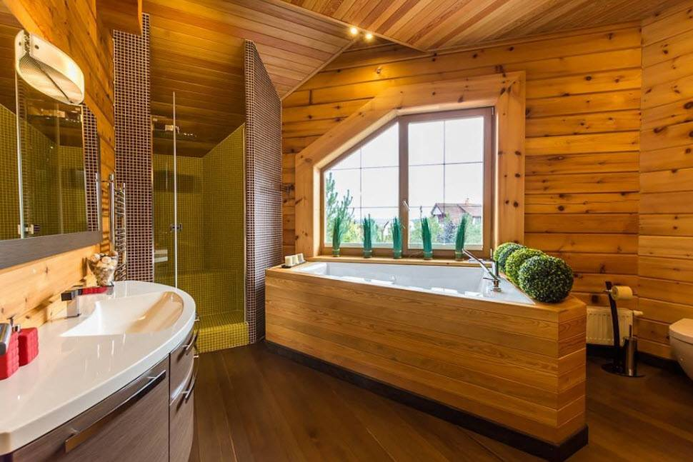Выбор стиля для реализации дизайна ванной комнаты в деревянном доме
