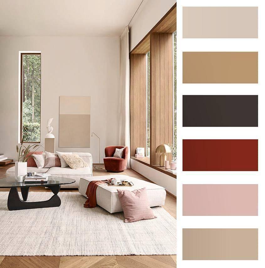 Сочетание коричневого цвета с другими в интерьере