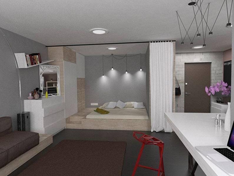 Дизайн однокомнатной квартиры 40 кв. м в современном стиле (54 фото): создаем интерьер для семьи, планировка квартиры для девушки