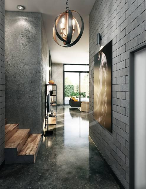 Прихожая в стиле лофт, коридор с белым кирпичом - 23 фото