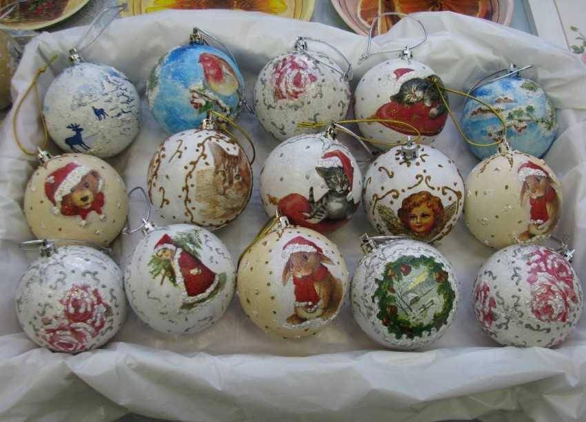 Новогодний декупаж шаров – идеи и мкидеи декора елочных шаров