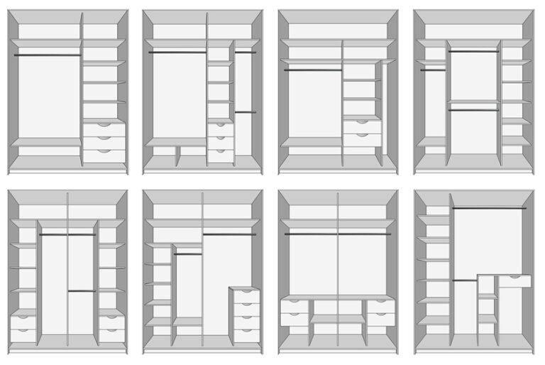 Планировка шкафа-купе внутри с размерами: основы грамотного обустройства