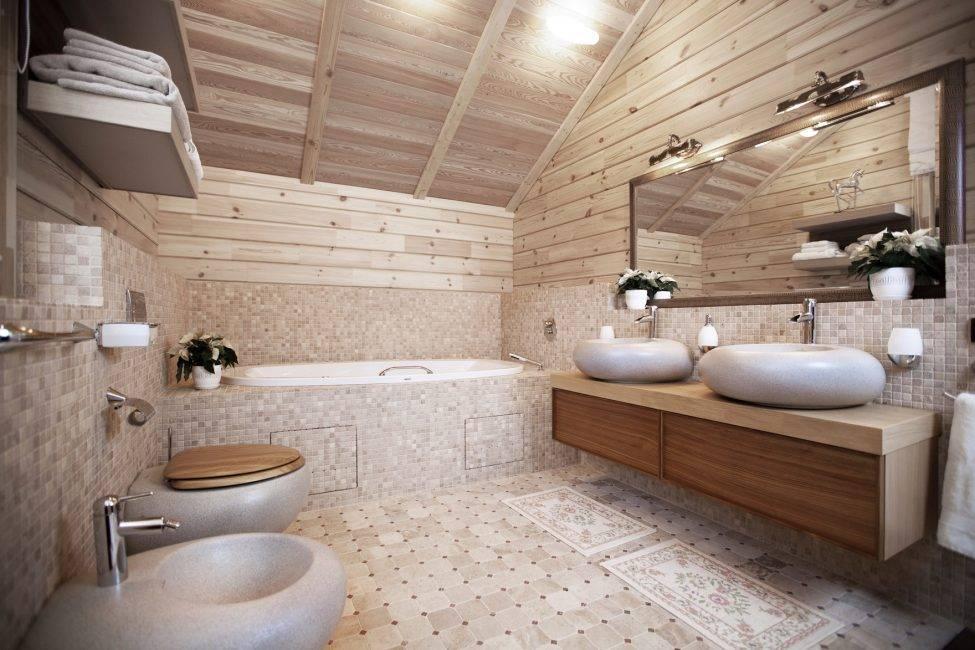 Дизайн ванной комнаты в деревянном доме – правила обустройства современного интерьера