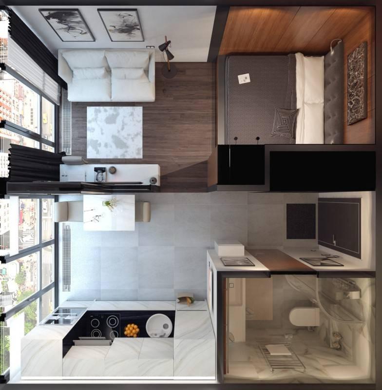 Квартира-студия 28 кв. м — дизайн интерьера (фото)