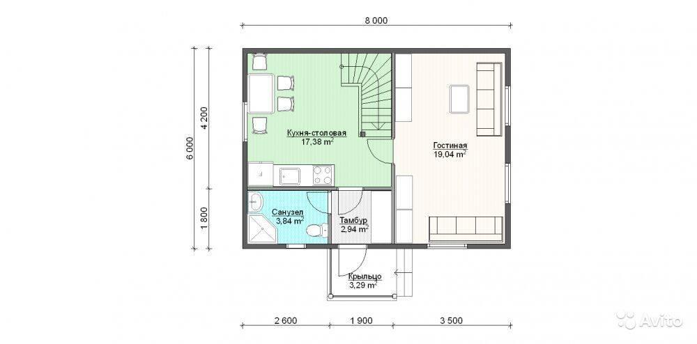 Какие особенности имеют проекты домов 6 на 8 с мансардой
