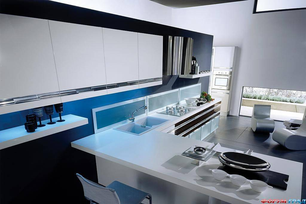 Кухня в стиле хай тек: варианты оформления интерьера (50 фото)