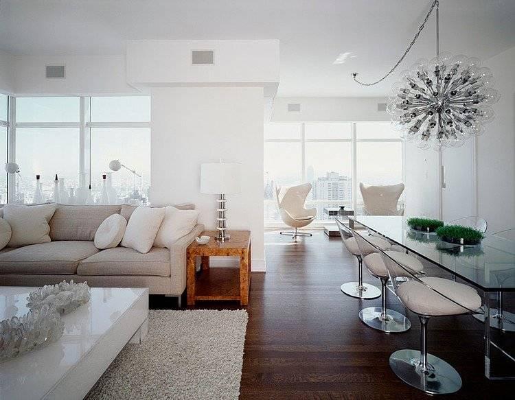 Белая квартира: дизайн с мебелью для разных помещений, примеры с фото