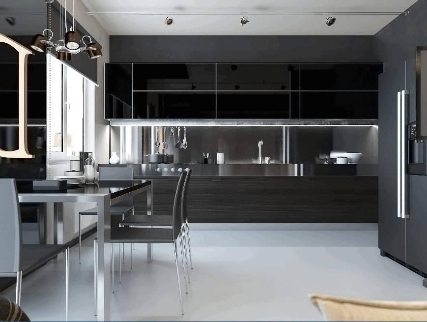 Кухня в стиле хай-тек (104 фото): дизайн интерьера кухни-гостиной, угловые и прямые кухонные гарнитуры белого и черного цвета, подходящие стол и шторы