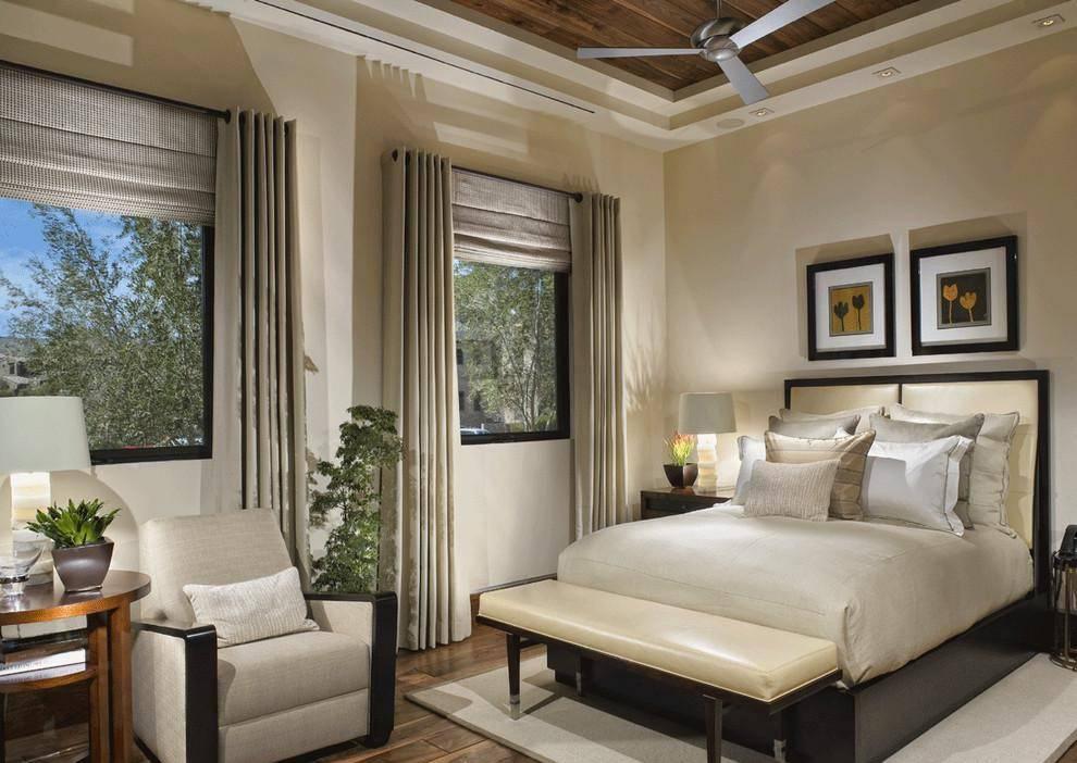 Дизайн спальни два окна на одной и на разных стенах