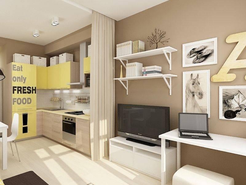 Фото дизайна интерьера маленькой квартиры студии 23 кв. м