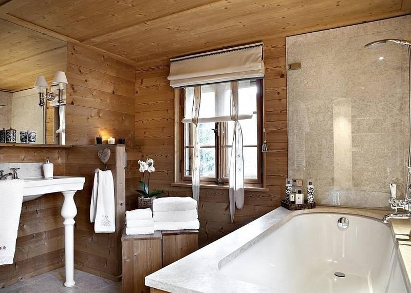 Отделка ванных комнат в деревянных домах: дизайн и фото