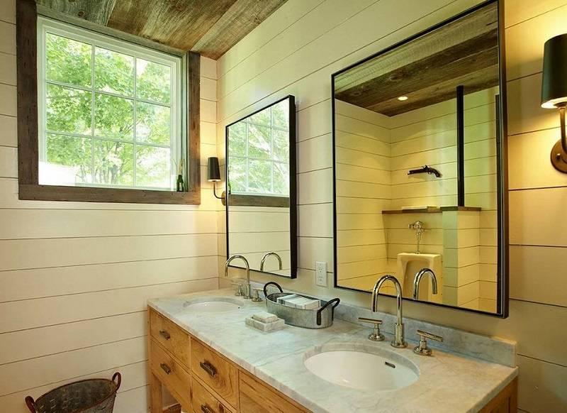 Ванная в деревянном доме: отделка стен, пола и потолка своими руками,ванная комната.