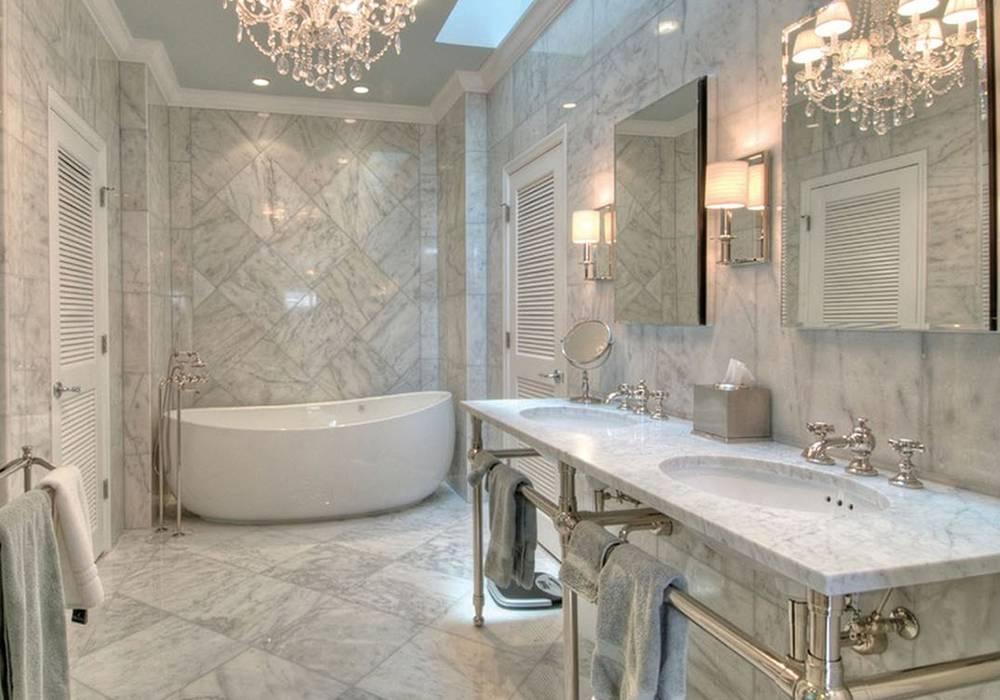 Дизайн отделки ванной комнаты плиткой — 100 фото идей