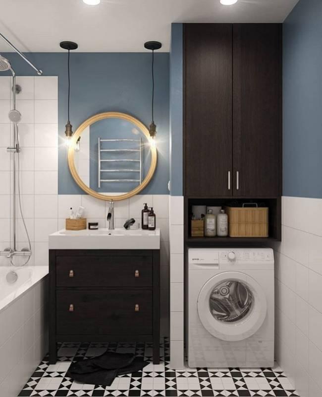 Стиральная машинка в ванной - 79 фото идей обустройства интерьера