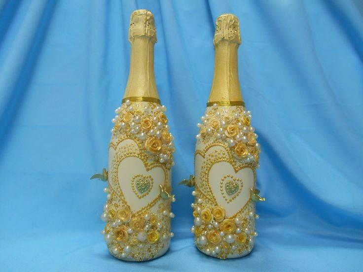 Съемные одежки на свадебные бутылочки | страна мастеров