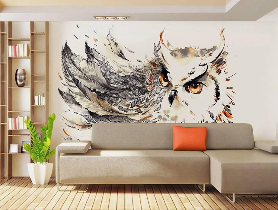 Оформление интерьера рисунками на стене в квартире