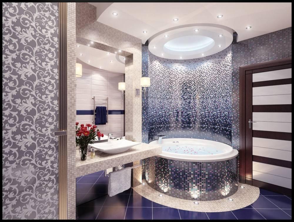 Плитка мозаика в ванной: интерьерный дизайн