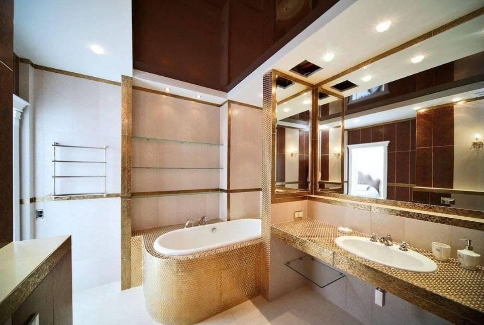 Натяжной потолок в ванной комнате – плюсы и минусы, особенности выбора