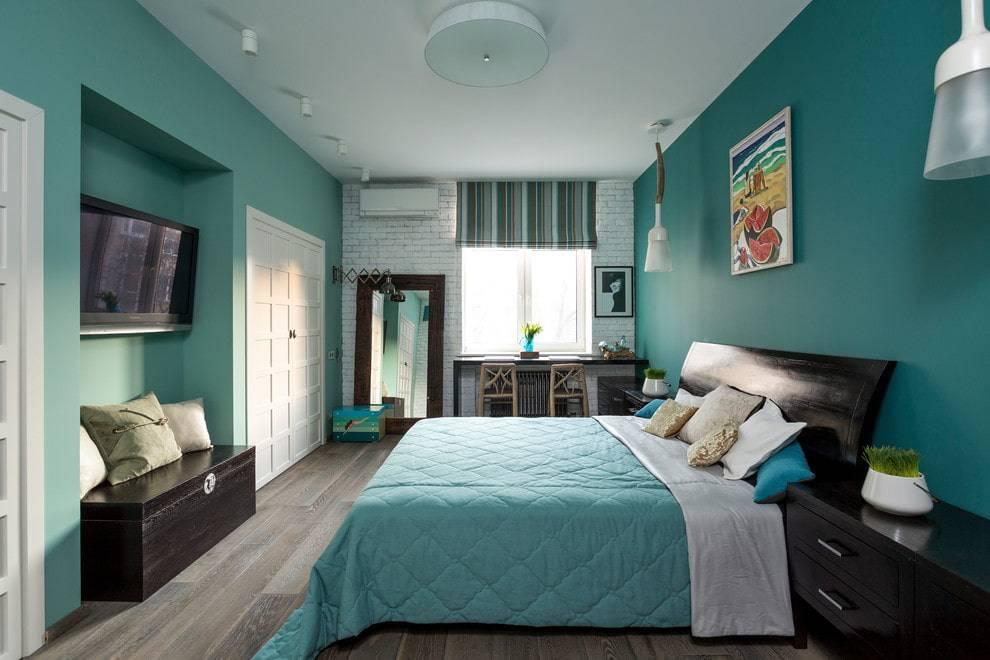 Спальня в бирюзовых тонах +75 вариантов дизайна на фото