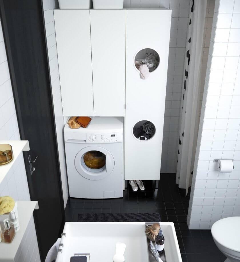 Стиральная машинка в ванной комнате: варианты размещения, правила подключения и особенности эксплуатации (100 фото)