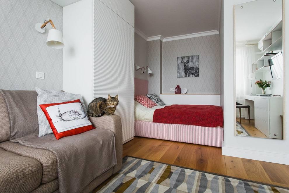 Дизайн однокомнатной квартиры 36 кв. м +75 фото интерьера