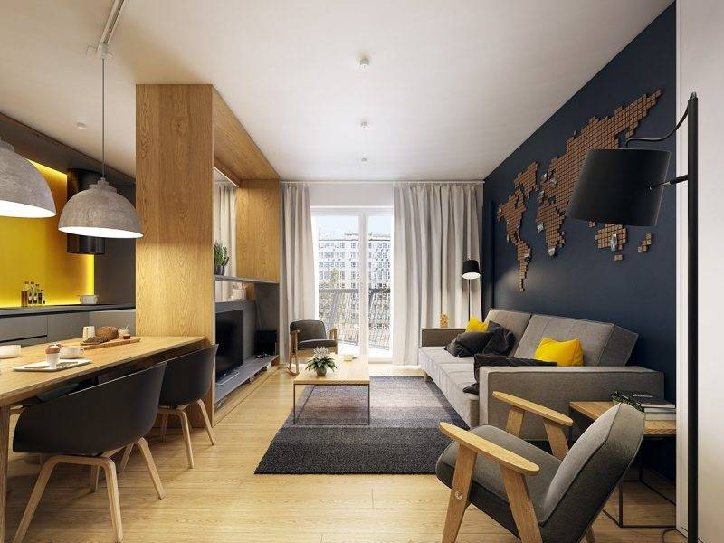 Зонирование однокомнатной квартиры (78 фото): использование перегородки из гипсокартона, особенности планировки для семьи с ребенком, эффектные примеры интерьера