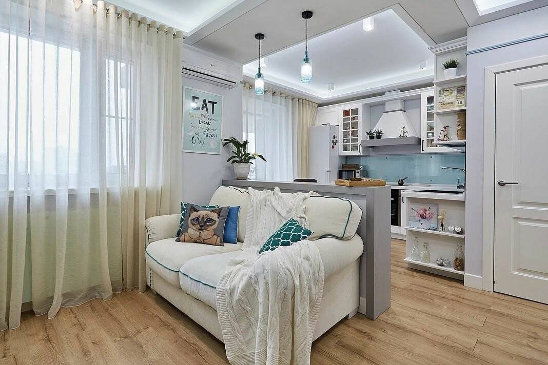 Дизайн двухкомнатной квартиры площадью 55 кв. м