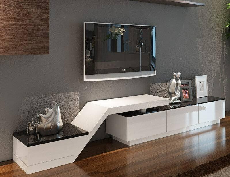 Дизайнерские тумбы под телевизор: варианты размещения в интерьере, виды конструкций