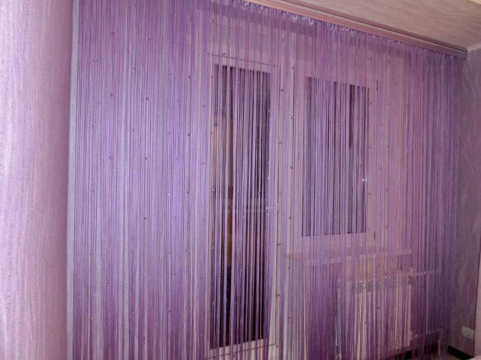 Нитяные шторы: виды, фото в интерьере, правила ухода
