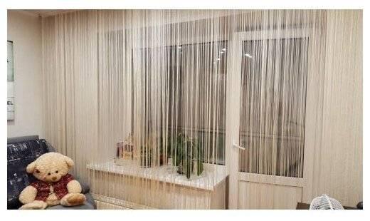 Нитяные шторы на кухне — 35 реальных фото в интерьере