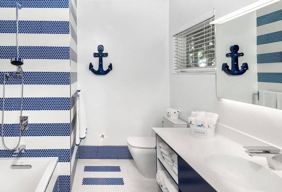 Ванная в морском стиле: 170 фото новинок, секреты оформления ванной в морском стиле