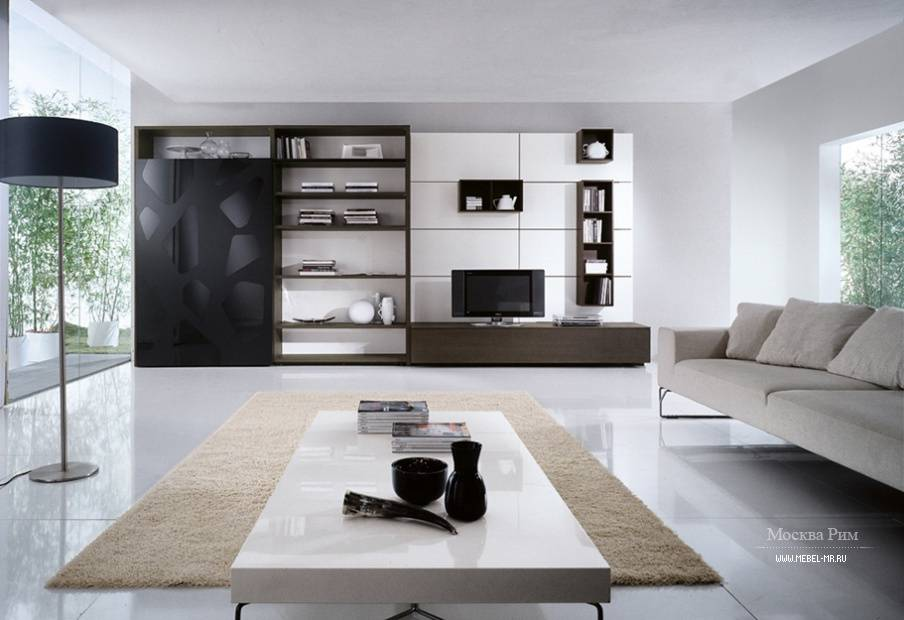 Стенка в гостиную — модные и классические варианты стильных комплектов мебели (65 фото-идей)