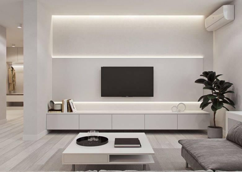 Лаконичный минимализм на просторах гостиной - 82 фото примера