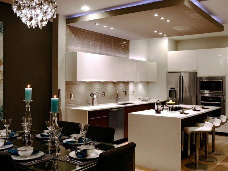 Потолок на кухне – варианты идеально сочетания и стильного дизайна (75 фото)