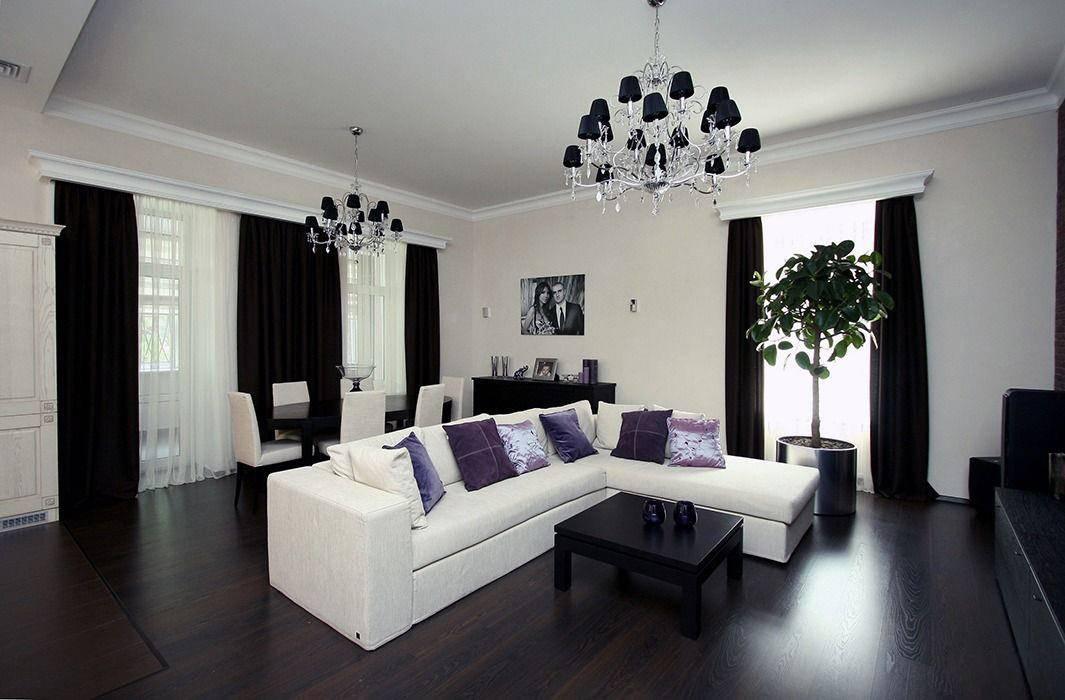 Черно-белая гостиная в дизайне - фото оригинальных идей оформления в интерьере