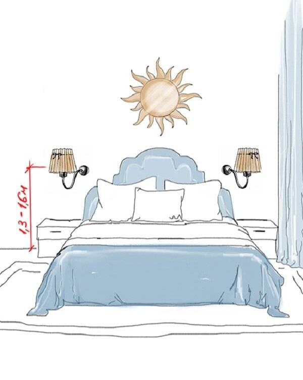 Высота бра над кроватью в спальне: на какой высоте установить бра