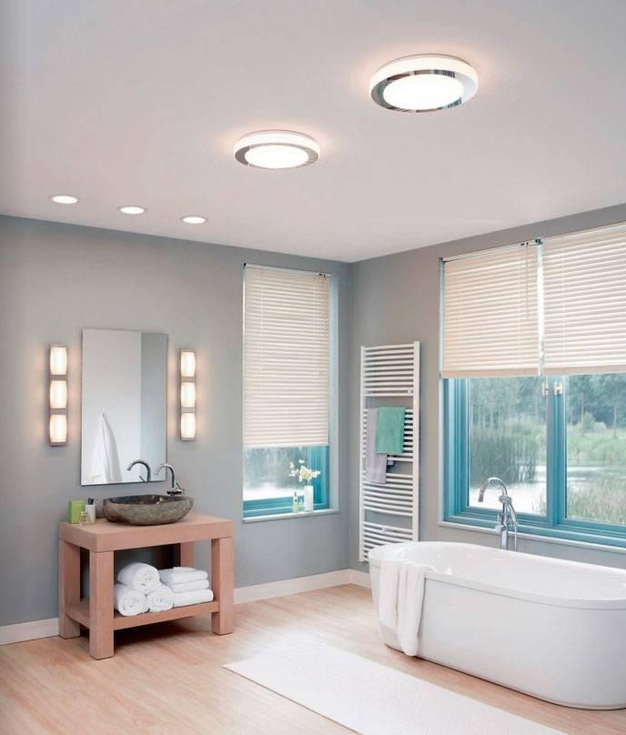 Точечные светильники в ванную комнату (74 фото): расположение встраиваемых светодиодных моделей