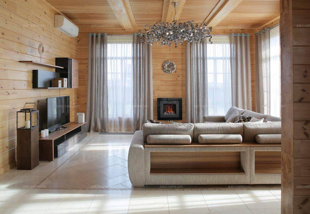 Дизайн гостиной в деревянном доме: особенности материала, зонирование, гостиная с камином, стили оформления, фото
