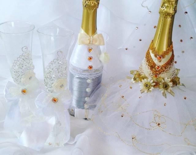 ᐉ свадебный декор лентами бутылки шампанского. украшение бутылки на свадьбу своими руками - svadba-dv.ru