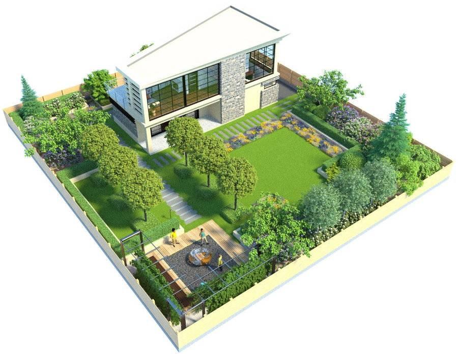Ландшафтный дизайн участка 8 соток: варианты планировки, схема участка с домом, гаражом и баней