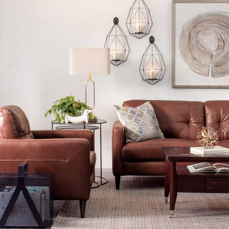 Коричневый диван в интерьере +50 фото примеров