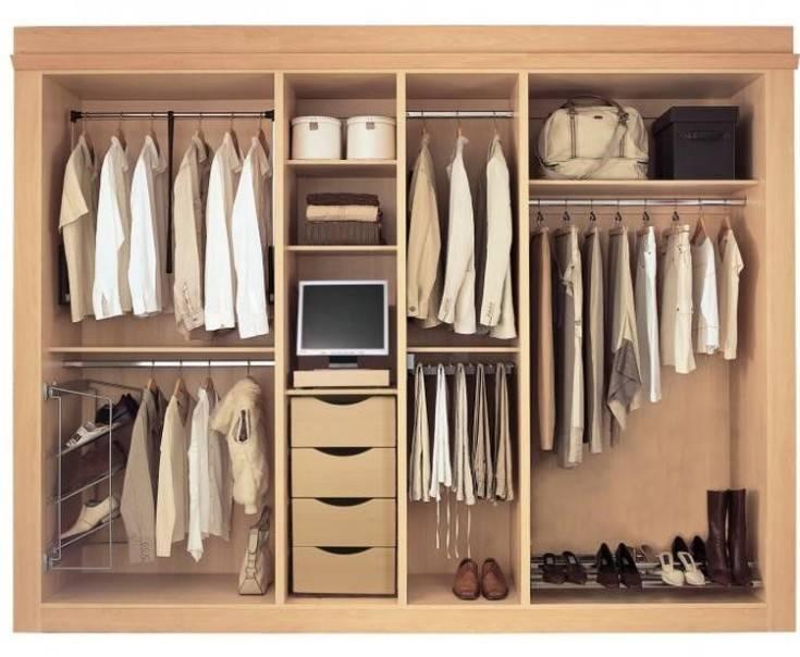 Наполнение шкафа купе в прихожую, гардероб и гостиную с размерами и схемами