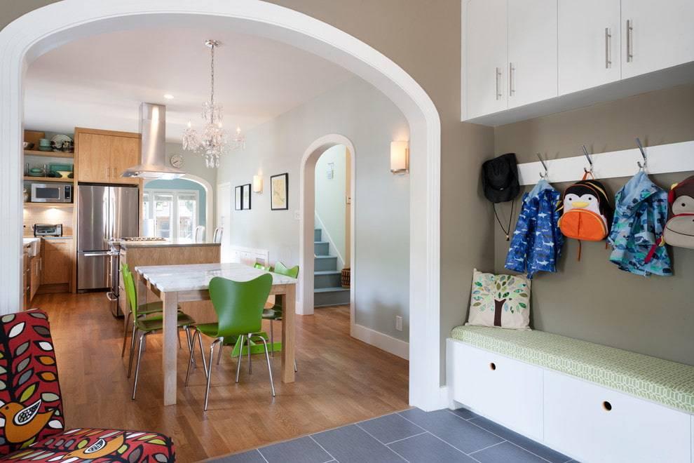 Арки из гипсокартона фото дизайн интерьера на кухне с барной стойкой
