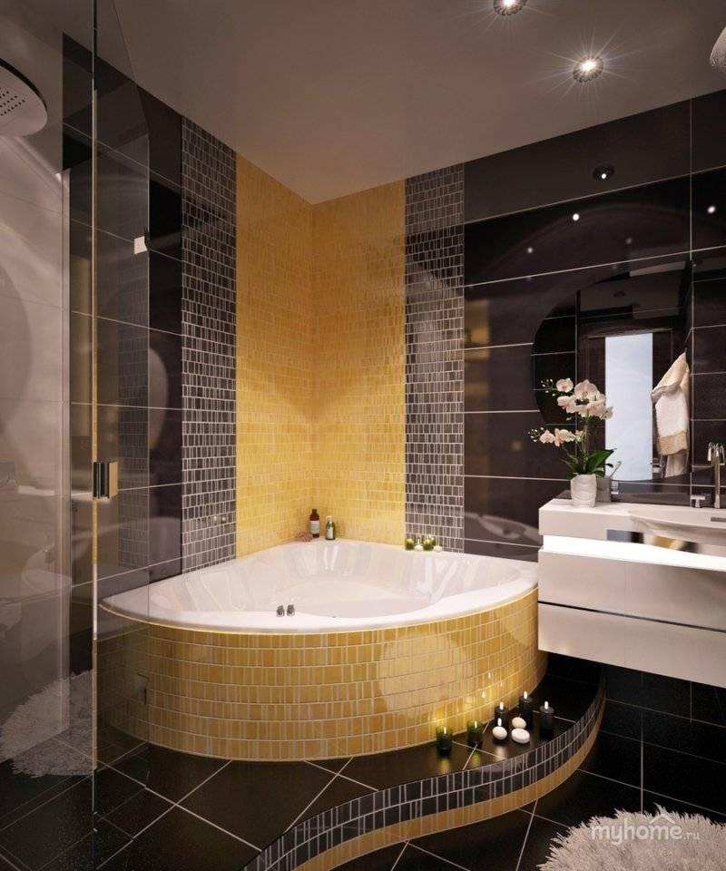 Угловая ванна в маленькой ванной комнате: дизайн  - 34 фото